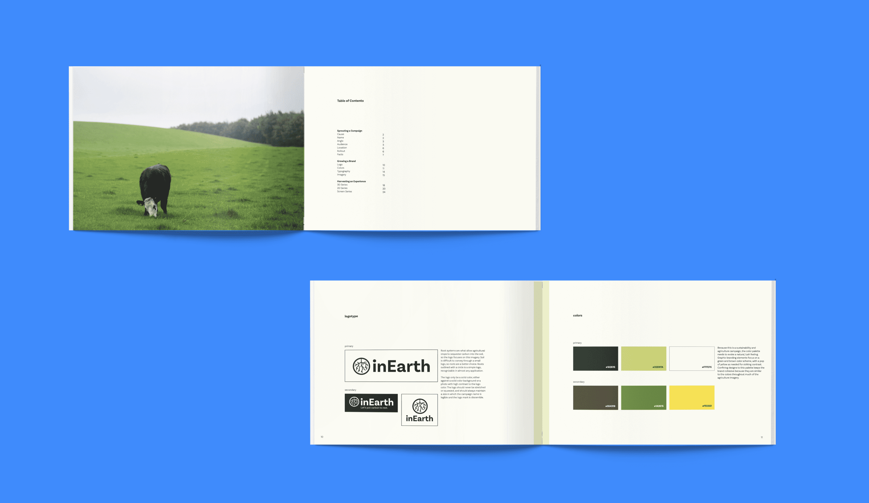 inEarth brand book mockup on blue background